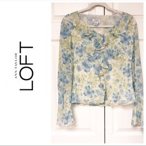LOFT SILK LINED RUFFLE FLORAL BUTTON DOWN BLOUSE